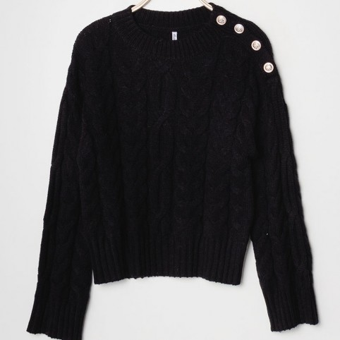 Pull Manches Bouton Doré